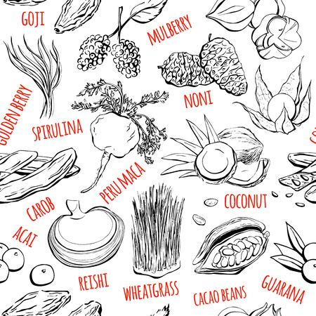 Vector seamless pattern with hand drawn doodle super foods. Black sketchy fruits, plants and berries and their names on white background for print, wrapping paper, web backdrop and other design.