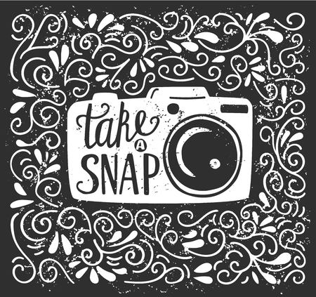 Vector illustration with lettering Take a snap. White photo camera silhouette, hand written phrase and doodle swirls on black background with grunge texture. Typography poster and card design.
