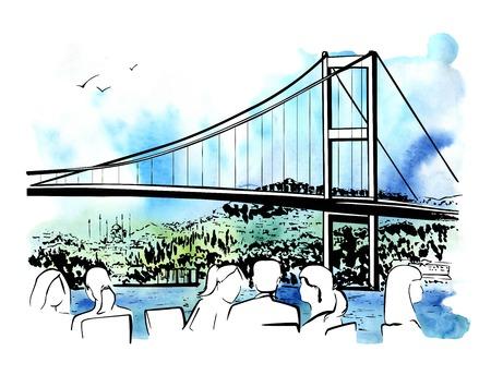 Hand getrokken illustratie met een beroemd oriëntatiepunt de Bosphorus-Brug in Istanboel, Turkije, en silhouetten van mensen die in een koffie op witte achtergrond eten. Inktschets met heldere aquarel achtergrond. Stock Illustratie