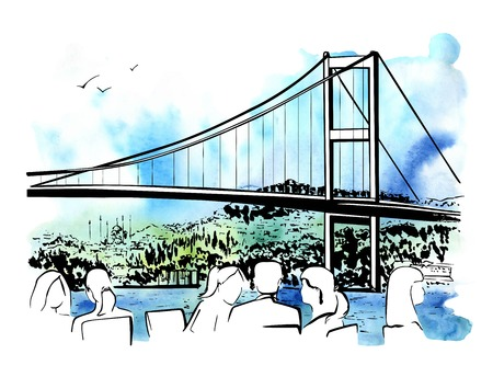 Hand drawn illustration with a famous landmark the Bosphorus Bridge in Istanbul, Turkey, and silhouettes of people eating in a cafe on white background. Ink sketch with bright watercolor background. Illustration