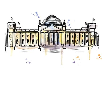 Vector hand drawn illustration of the Reichstag building in Berlin, Germany. Bright image of german landmark. Black outline and bright watercolor stains. splashes and drips. Иллюстрация