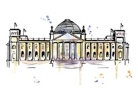 Vector illustration dessinée à la main du bâtiment du Reichstag à Berlin, en Allemagne. Image lumineuse du point de repère allemand. Contour noir et taches d'aquarelle vives. éclaboussures et gouttes. Banque d'images - 86387523