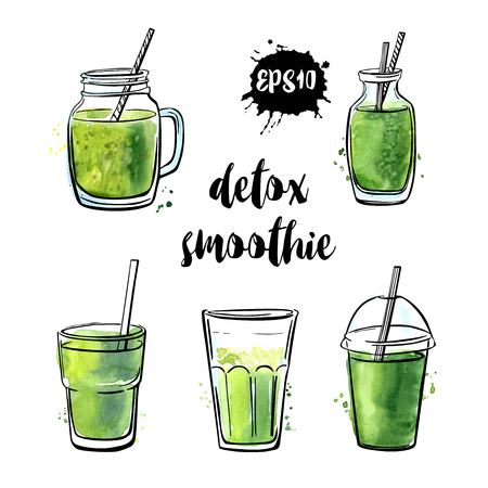 Set of vector illustrations Detox smoothie. Collection of hand drawn cups, mugs and glasses with healthy summer cocktails. Black outline and green watercolor stains isolated on white background.