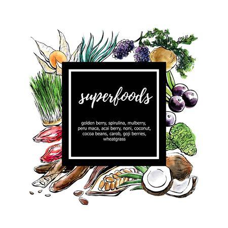 Hand drawn illustration Super foods