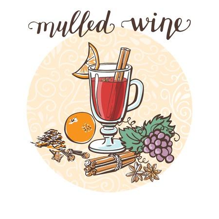 ホットワイン。ホットド リンクとその成分円組成と手書きのベクトル図です。おいしいドリンク レシピ カード、ポスターやメニューのデザインを