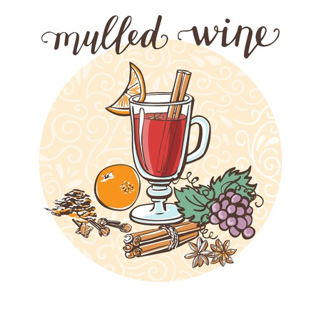 Mulled wine. Vector illustration with a hot drink and its ingredients in circle composition and handwriting. Hand drawn doodle cup with tasty beverage for recipe card, poster or menu design Иллюстрация