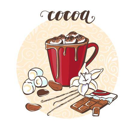 Cacao con malvavisco. Vector la ilustración con una bebida caliente y sus ingredientes en la composición y la escritura del círculo. Dibujado a mano doodle taza con bebida para el diseño de la tarjeta, cartel o menú de receta Foto de archivo - 89486580