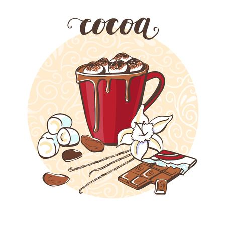 Cocoa with marshmallow. Vector illustration with a hot drink and its ingredients in circle composition and handwriting. Hand drawn doodle cup with beverage for recipe card, poster or menu design