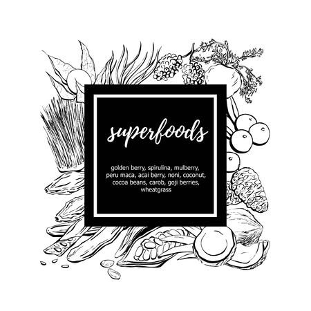 Hand drawn vector illustration Superfoods. Black sketchy doodle objects in a square composition with a black label and place for your text. Card, poster, banner, label design with place for your text. Illusztráció