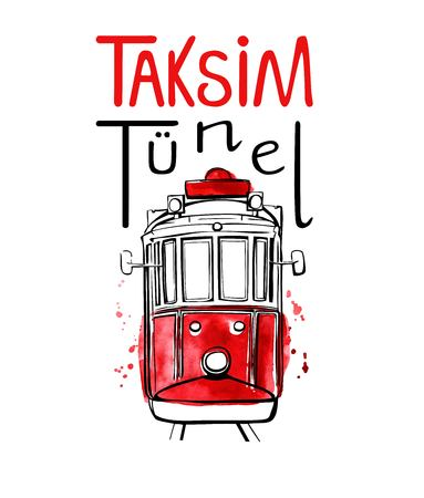 Vector illustration of traditional turkish public transport Taksim Tunel. Hand drawn famous Istanbul tram. Black outline, red watercolor texture and hand lettering. Isolated on white background. 일러스트