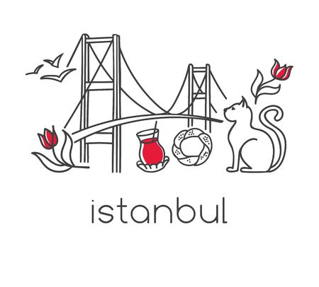 Modern vector illustration Istanbul with hand drawn doodle turkish symbols: the bridge, tea glass, bagel simit, seagull, tulip and a cat Simple minimalistic design with black outline isolated on white Vectores