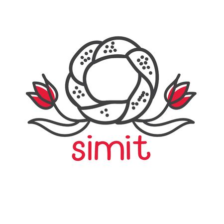 Clear modern vector illustration of famous turkish bagel Simit with red tulips. Hand drawn doodle elements for minimalistic label, logo, badge or card design for cafe, bakery or street food market.