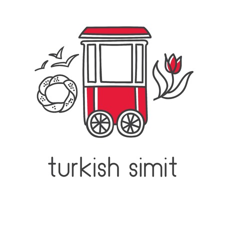 Modern vector illustration of turkish traditional cart with simit bagels, seagulls and tulip. Hand drawn doodle elements for label, logo, badge or card design for bakery, cafe or street food vendor.