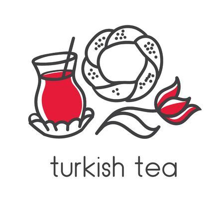 Eenvoudige moderne vectorillustratie van Turkse symbolen: zwart theeglas, traditioneel simitongezuurd broodje, tulp. Hand getrokken doodle elementen voor minimalistische label, logo, badge of kaart ontwerp voor café of bakkerij. Stock Illustratie