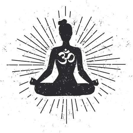 Vector illustration with meditating woman in lotus yoga pose with Om sign, scroll and sunburst on white background with grunge texture. Yoga concept print, poster, card and flyer design Illusztráció