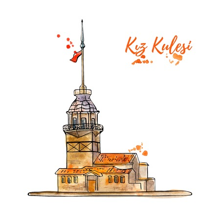 Vector sketchy illustration with a silhouette of the Maiden Tower in Istanbul. Hand drawn famous turkish landmark with an artistic watercolor texture and isolated black outline on white background. Vettoriali