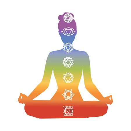 Vector silhouette of yoga woman with chakra symbols. Rainbow colorful gradienet. Isolated female figure on white background. Meditation in lotus position - Padmasana.