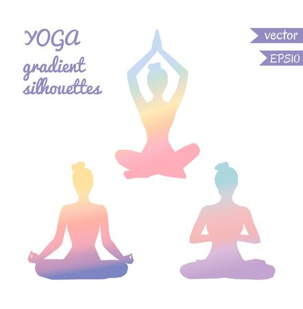 Vector set of three female silhouettes in meditation pose with tender gradient in pastel pink, blue, orange, purple and violet colors. Woman in yoga lotus pose - Padmasana