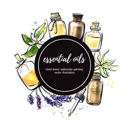 Ilustración de vector con botellas de aceite esencial, flores y plantas. Mano dibuja elementos en la composición del círculo con el círculo negro. Esquema negro aislado y manchas coloridas.
