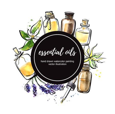 Wektorowa ilustracja z istotnymi olej butelkami, kwiatem i rośliną. Ręcznie rysowane elementy w kompozycji koło z czarnym kółkiem. Na białym tle czarny zarys i kolorowe plamy.