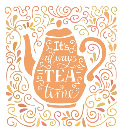 Would you like some tea. Vector illustration with hand lettering, pink tea pot silhouette and doodle swirl ornament in pastel colors. Poster, card, print design for kitchen, dining room or cafe.