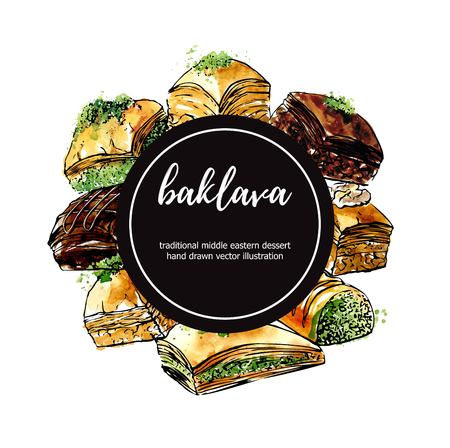 Vector illustration with famous middle eastern dessert Baklava. Hand drawn elements in circle composition with black circle. Isolated black outline and colorful stains. Ilustração
