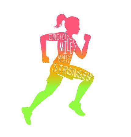 각 마일은 당신을 더 강하게 만듭니다. 실행중인 여자와 벡터 레터링 그림입니다. 여성의 실루엣, 영감 따옴표 및 다채로운 그라데이션을 작성하는 손.