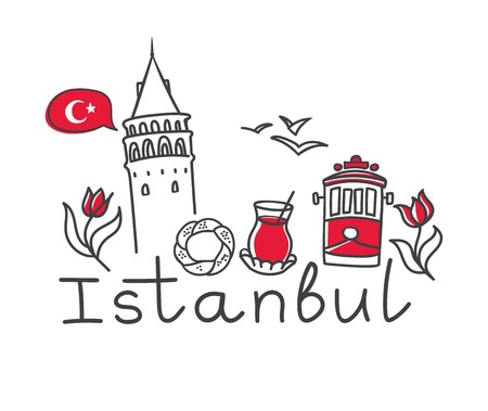 Vector illustration Istanbul with hand drawn doodle turkish symbols: the Galata tower, tea glass, simit, tram, seagull, tulip and a national flag of Turkey. Simple minimalistic design of black outline Vettoriali