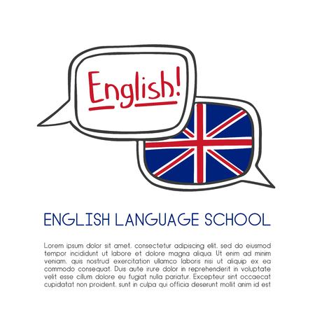 English language school vector illustration. Two hand drawn doodle speech bubbles with a national flag of the UK, hand lettering and place for your text information. Card or poster template design.