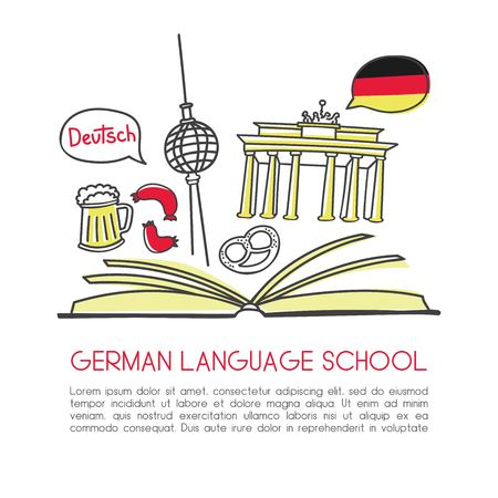 Vector illustration German language school. Open book and symbols of Germany: beer, the Brandenburg gate, the television tower, sausage, bagel. Hand drawn doodles isolated on white with place for text