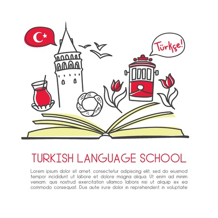 Vector illustration Turkish language school. An open book and symbols of Turkey: Galata tower, tram, tea, tulip, simit bagel, seagull. Hand drawn doodle objects isolated on white with place for text.