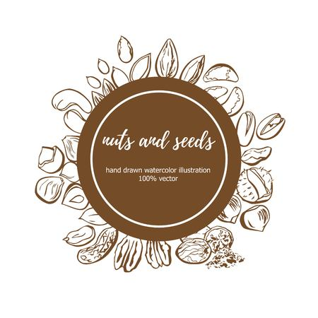 Vector illustration of Nuts and Seeds. Hand drawn doodle objects in circle composition with place for your text. Isolated sketchy elements on a brown round label. Package, card, badge, print design.