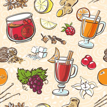 Vector seamless pattern. Hand drawn doodle objects of glass with grog, mulled wine and fruit punch with ingredients on beige background with neutral white swirls.  イラスト・ベクター素材