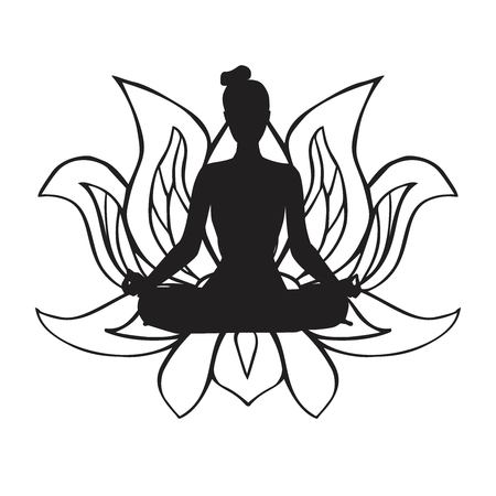 Vector illustration of black female silhouette in yoga pose and buddhist symbol lotus flower. Slim body woman doing meditation practice. Lotus pose - Padmasana. Illustration