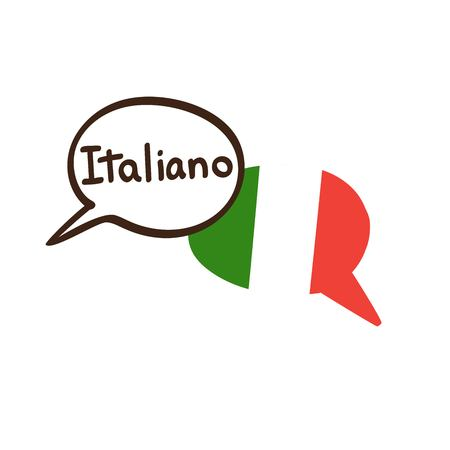 Vector illustration with two hand drawn doodle speech bubbles with a national flag of Italy and hand written name of the Italian language. Modern design for language. Vectores