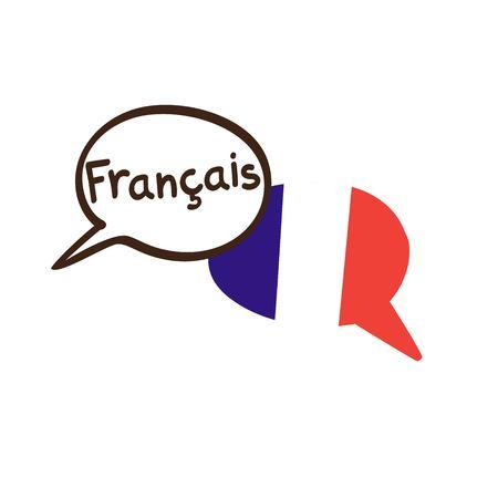 Vector a ilustração com duas bolhas tiradas mão do discurso da garatuja com uma bandeira nacional de França e entregue o nome escrito da língua francesa. Design moderno para a linguagem.
