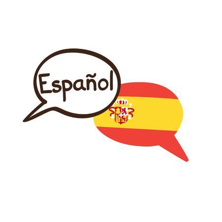 Ilustración de vector con dos burbujas de discurso de doodle dibujado a mano con una bandera nacional de España y el nombre escrito a mano de la lengua española. Diseño moderno para el lenguaje.