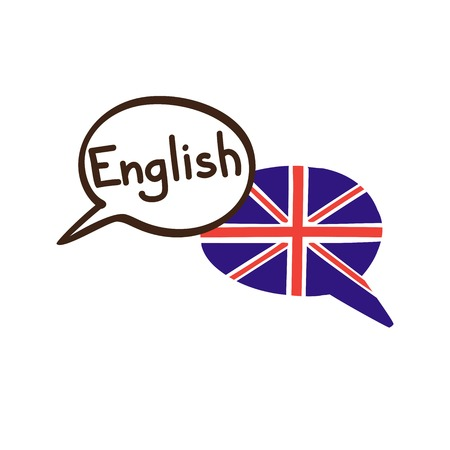 Vector illustration with two hand drawn doodle speech bubbles with a national flag of the UK and hand written name of the English language. Modern design for language.