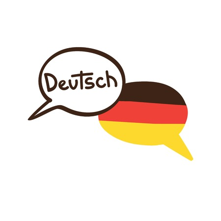 Vector illustration with two hand drawn doodle speech bubbles with a national flag of Germany and hand written name of the German language. Modern design for language. Иллюстрация