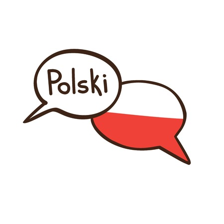 A Vector illustration with two hand drawn doodle speech bubbles with a national flag of Poland and hand written name of the Polish language. Modern design for language. Vettoriali