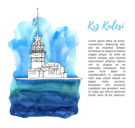 Vector sketch illustration with a silhouette of Maiden Tower in Istanbul. Hand drawn famous turkish landmark with blue watercolor texture and place for text. Isolated black outline on white.