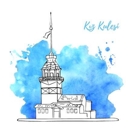 Vector sketchy illustration with a black outline silhouette of the Maiden Tower in Istanbul with bright blue watercolor texture splash on the background. Hand drawn famous turkish landmark. Ilustração