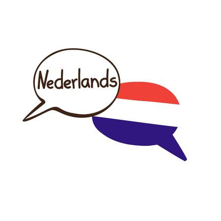 Vector illustration with two hand drawn doodle speech bubbles with a national flag of Netherlands and hand written name of the Dutch language. Modern design for language. Ilustração