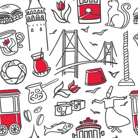 Vector seamless pattern Istanbul. Hand drawn doodle symbols with black outline and red color on white background. Modern clear line design for touristic print, backdrop, wrapping paper or wallpaper.  イラスト・ベクター素材