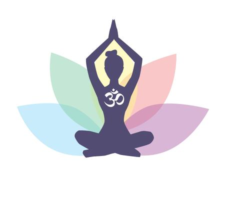 Vector illustration with meditating woman, religious symbol Om and lotus flower with colorful petals. Isolated on white background. Yoga icon for logo, poster, banner, flyer or card design.
