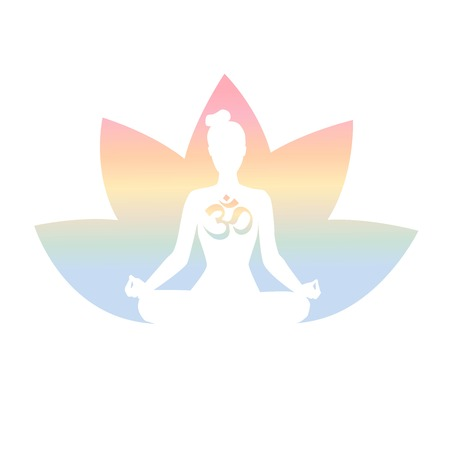 Vector illustration with a meditating woman, religious symbol Om and lotus flower in pastel colors gradient. Isolated on white. Yoga icon for logo, poster, banner, label or card design.