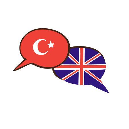Vectorillustratie met twee hand getrokken doodle tekstballonnen met nationale vlaggen van Turkije en het Verenigd Koninkrijk. Modern ontwerp voor een cursus vreemde talen, lessen, school of vertaalbureau. Stock Illustratie