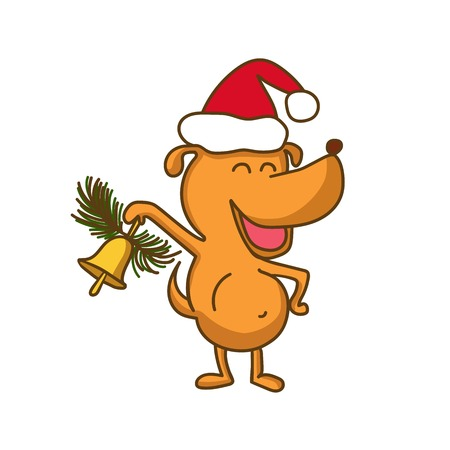 Vector illustration with cute happy dog ​​in red hat and hand bell with fir branch