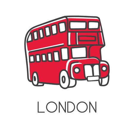 Modern vector illustration London with hand drawn doodle english symbol - red double decker bus. Simple minimalistic sketch with black outline isolated on white. Touristic logo, icon.