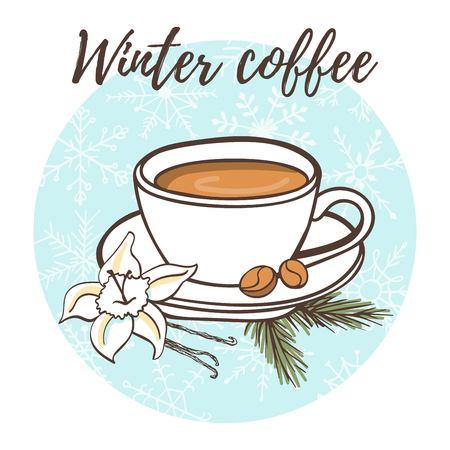 Winter coffee Vector illustration Stock Vector - 90853147